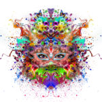 Abstract,Colorful,Symmetrical,Floral,Illustration,With,Eyes,And,Butterflies