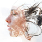 Double,Exposure,Portrait,Of,A,Young,Fair-skinned,Woman,And,A